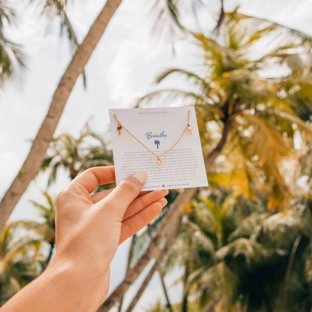 breathe anklet on jewelry card dainty palm trees bryan anthonys