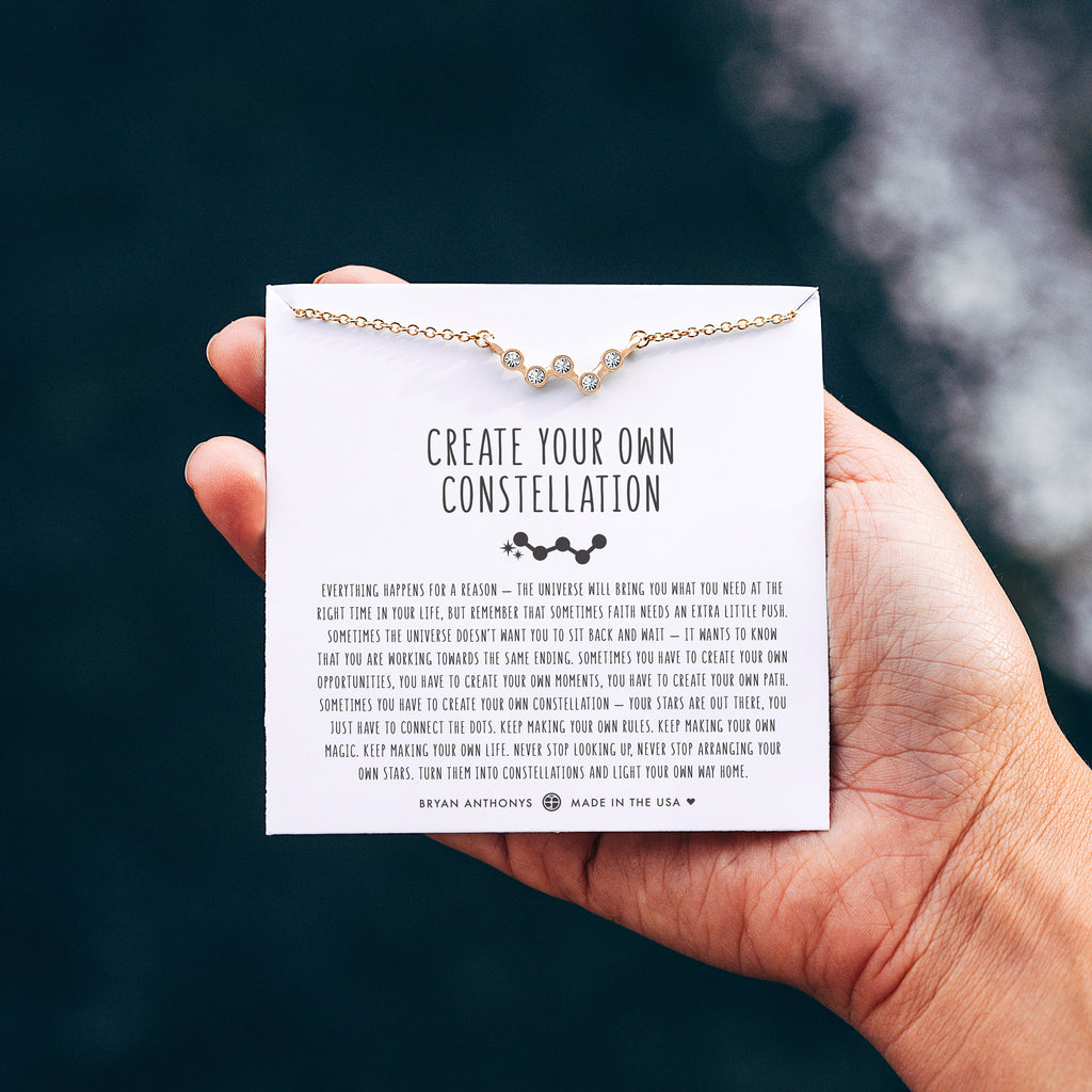 create your own constellation necklace on jewelry card