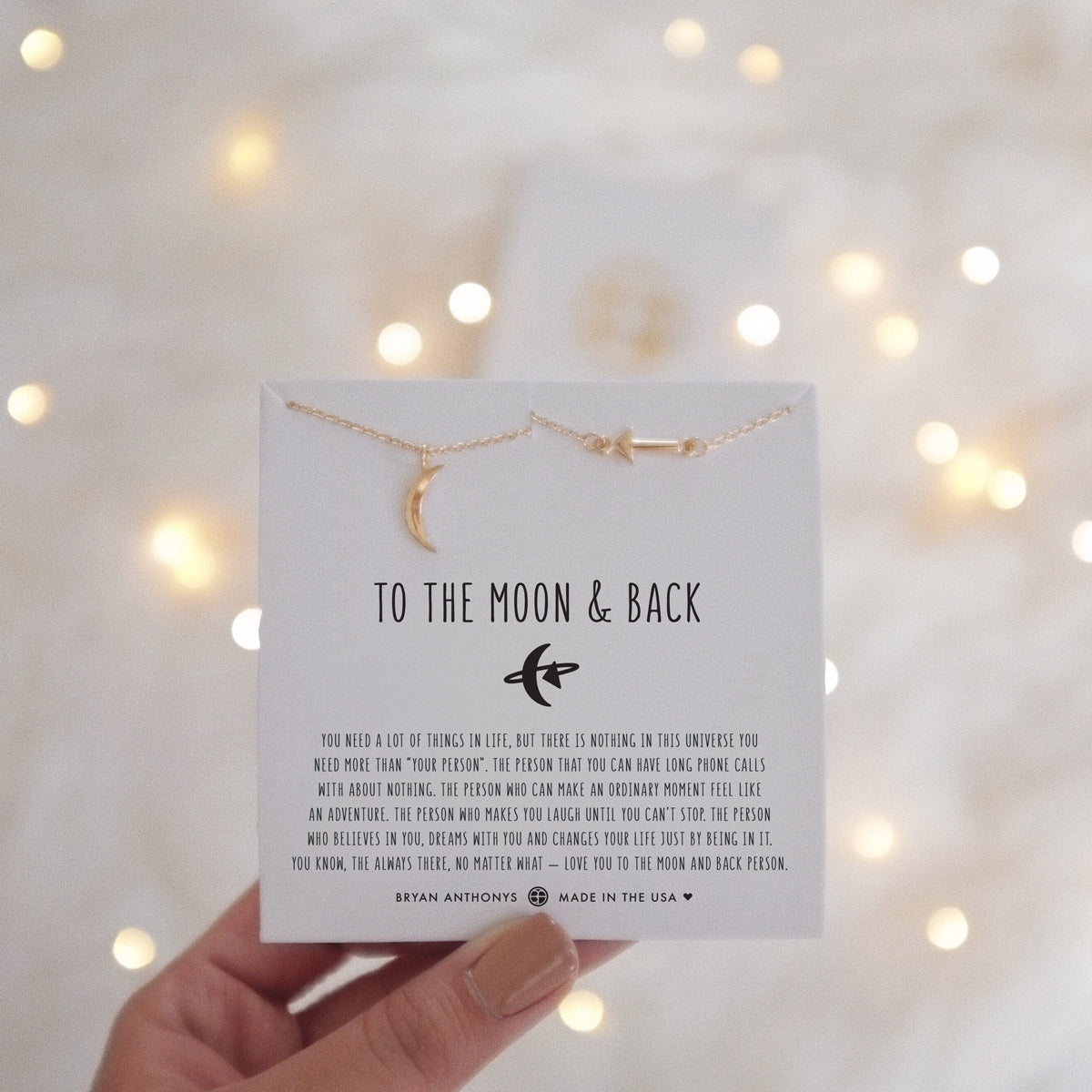 78856362f5d0 Bryan Anthonys dainty to the moon and back necklace set 14k gold on card  holding card