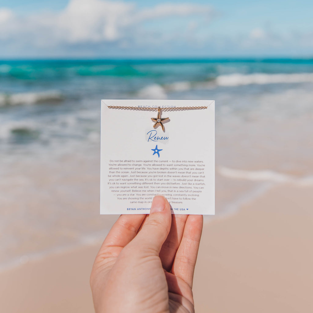 renew starfish necklace beach collection bryan anthonys on jewelry card