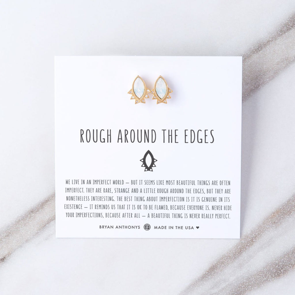 rough around the edges earrings gold on card