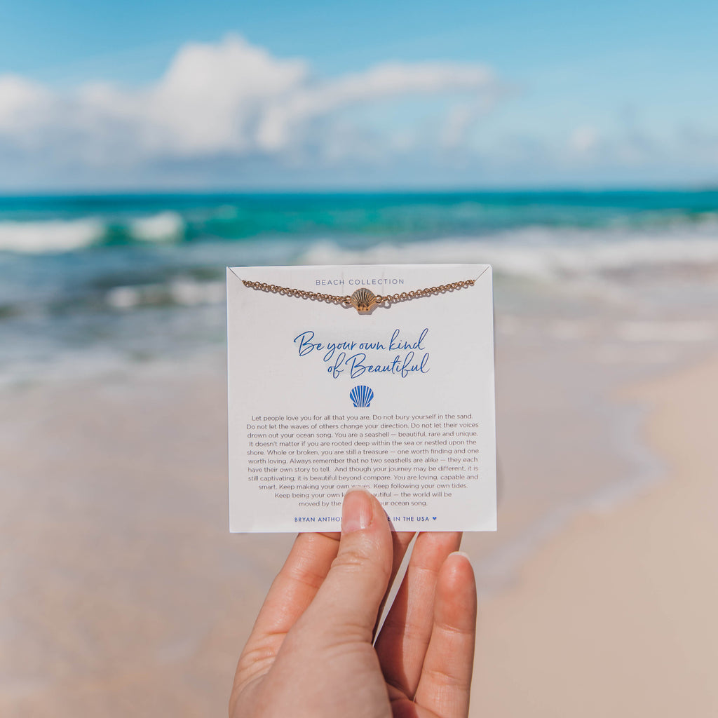 be your own kind of beautiful dainty seashell anklet on jewelry card