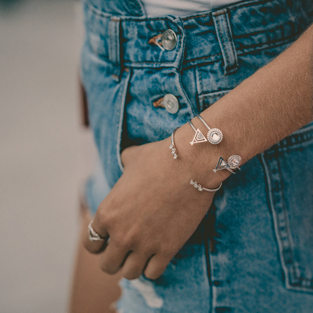bryan anthonys stacked cuffs positive vibes cuff silver close-up wrist