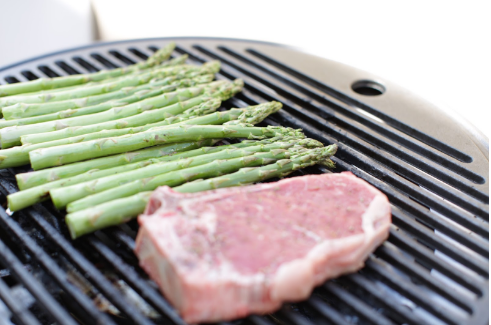 Grilled Herb Butter Steak and Asparagus