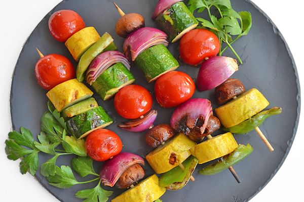 Vegetable Shish Kababs with Spicy Honey Sesame Sriracha Glaze