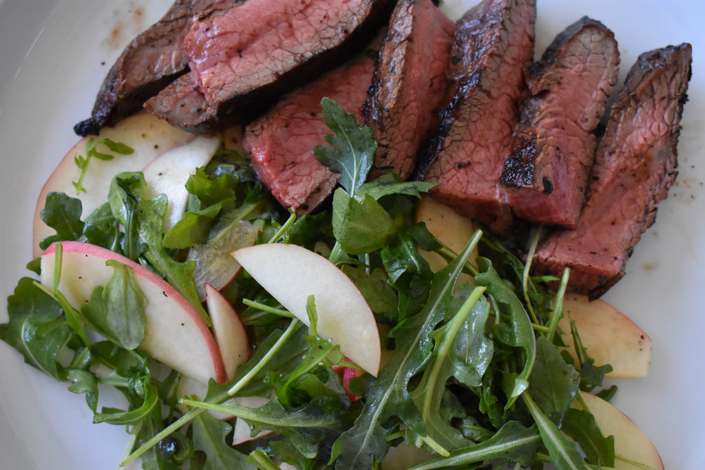 Balsamic Grilled Steak Salad with Peaches on a Fuego Grill