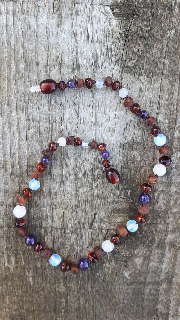 Mixed Cognac Raw and Polished Amber Gem Necklace