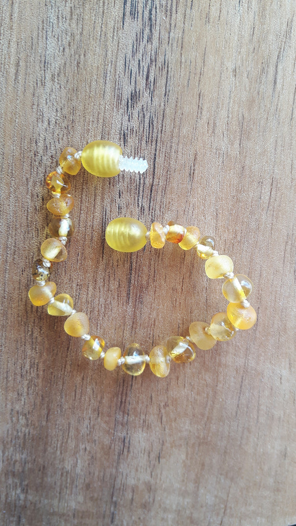 Mixed Polished and Raw Lemon Amber Anklet
