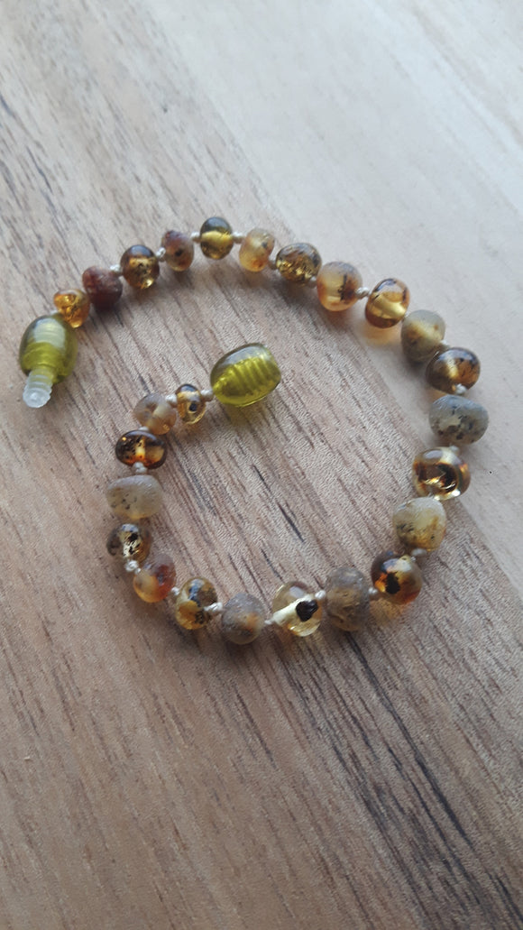 Mixed Polished and Raw Light Green Amber Anklet