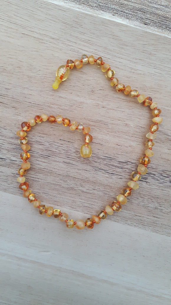 Mixed Polished & Raw Honey Amber Necklace