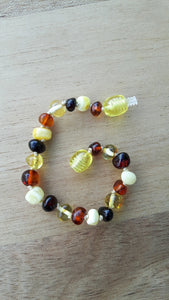 Polished Cognac, Milky, Cherry and Lemon Amber Anklet