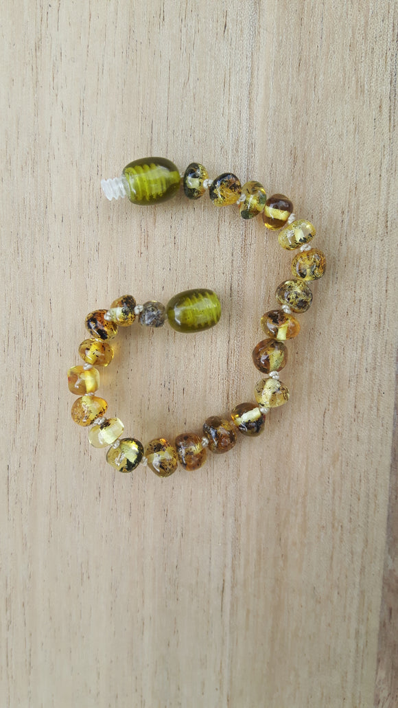 Polished Light Green Amber Anklet