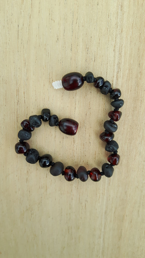 Mixed Polished and Raw Cherry Amber Anklet