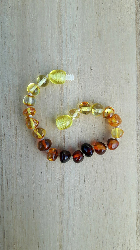 Polished Light to Dark Amber Anklet