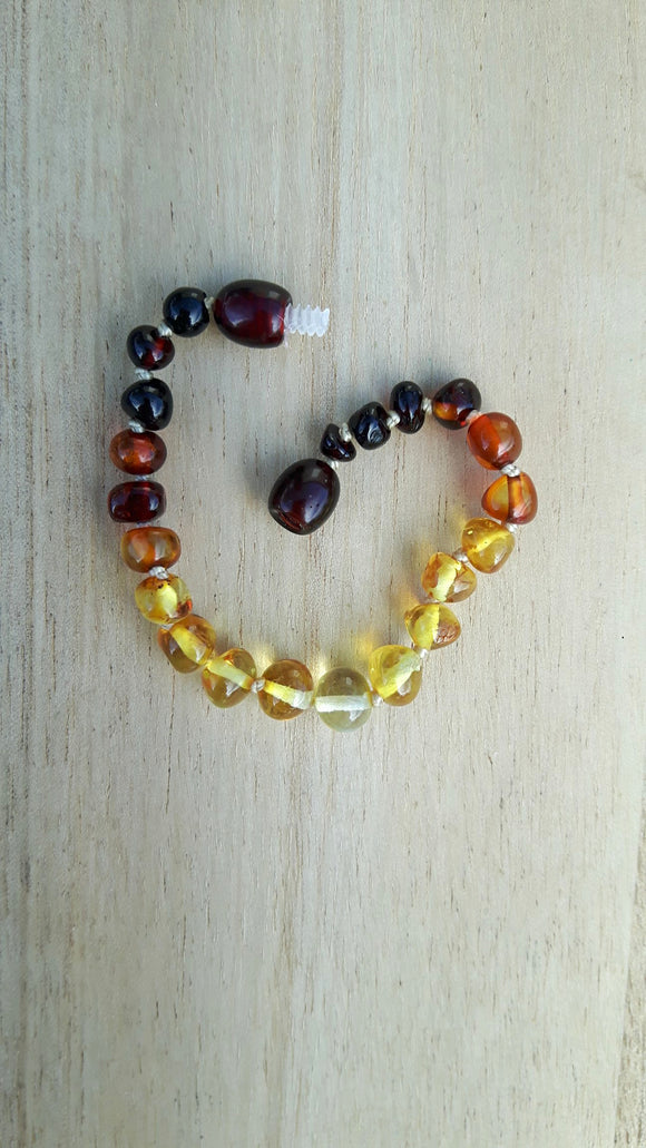 Polished Rainbow Dark to Light Amber Anklet