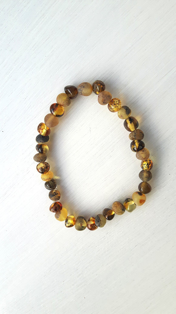 Mixed Polished and Raw Green Amber Bracelet