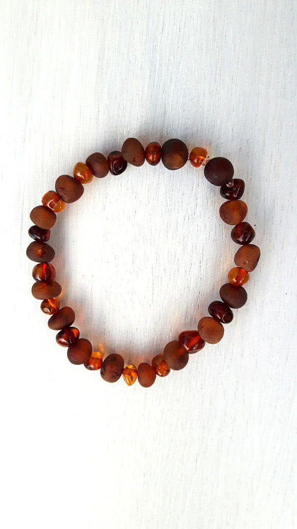 Mixed Polished and Raw Cognac Amber Bracelet