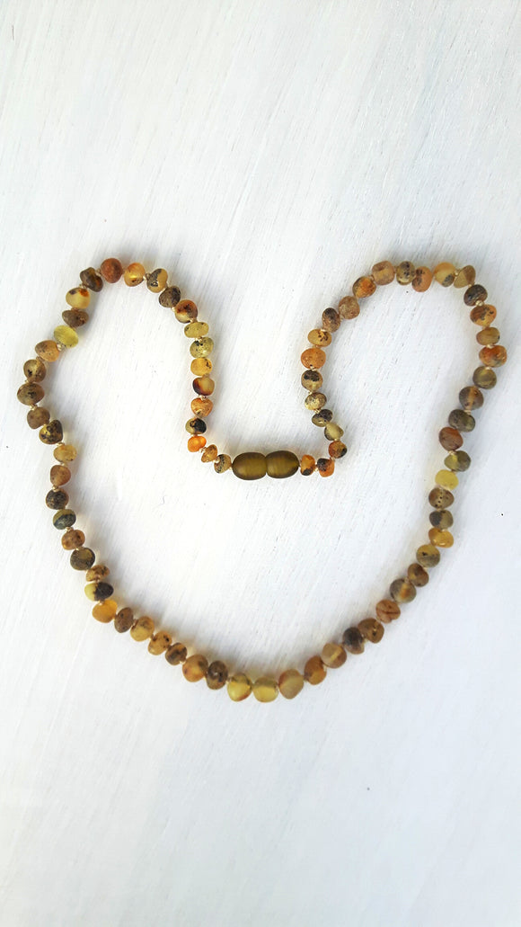 Adult Raw Light Green Amber Necklace