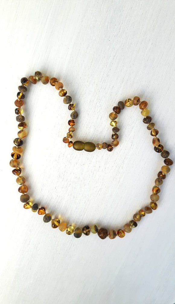 Adult Mixed Polished and Raw Light Green Amber Necklace