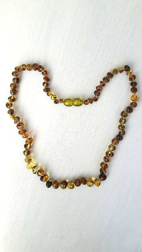 Adult Polished Light Green Amber Necklace