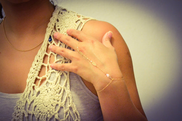 Gold Filled Lace Ring Bracelet - Anci Decor Jewelry