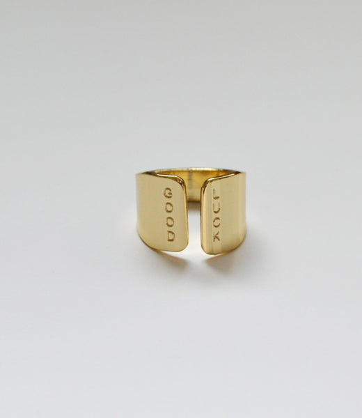 GOOD LUCK gold ring - Anci Decor Jewelry