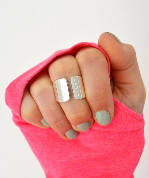 BE HAPPY silver wide ring - Anci Decor Jewelry