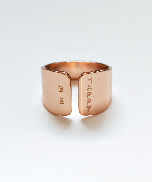 BE HAPPY rose gold ring - Anci Decor Jewelry