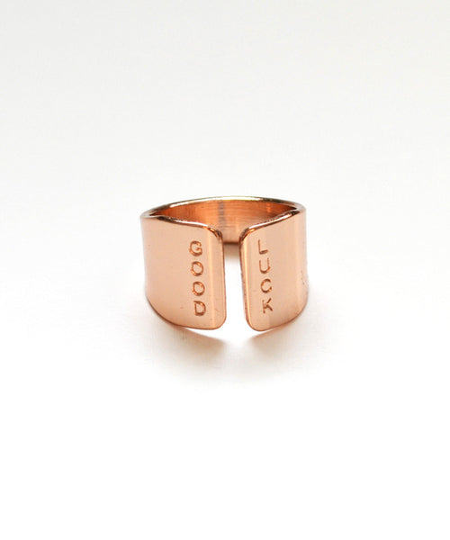 GOOD LUCK rose gold ring - Anci Decor Jewelry