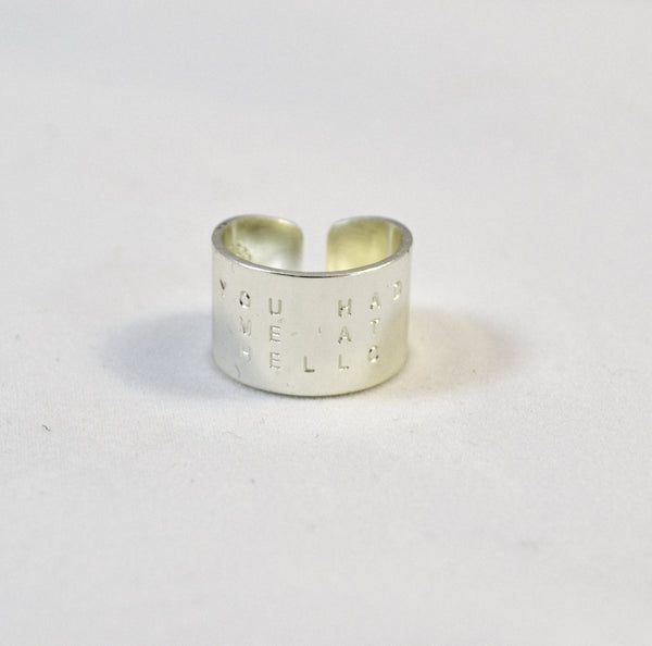 Silver Wide Cuff Ring, You Had Me At Hello Hand Stamped Silver  ring - Anci Decor Jewelry