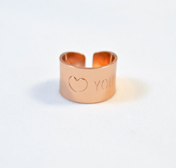 I Love You Hand Stamped Ring - Anci Decor Jewelry