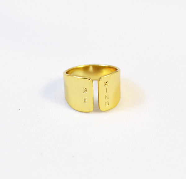 BE KIND hand stamped gold ring - Anci Decor Jewelry