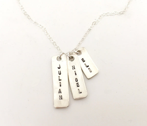 Baby and Me Hand stamped Necklace