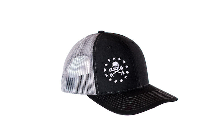 Black with Grey Mesh Trucker Hat