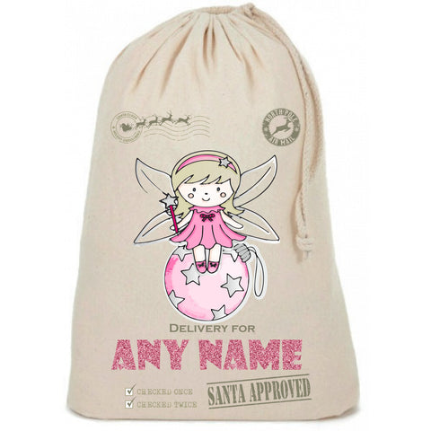 Fairy on Bauble Cute Glitter Personalised Christmas Sack - Awareness for DIPG - Free Postage