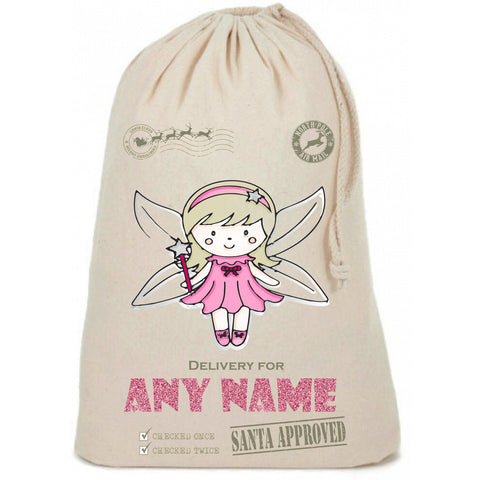 Fairy Cute Glitter Personalised Christmas Sack - Awareness for DIPG - Free Postage