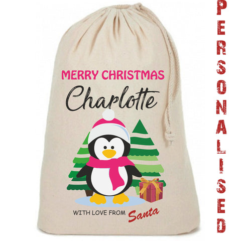 Girls Penguin Cute Personalised Christmas Sack - Awareness for DIPG - Free Postage
