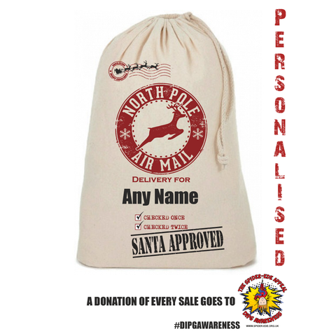 Stamp AirmailPersonalised Christmas Sack - Awareness for DIPG - Free Postage