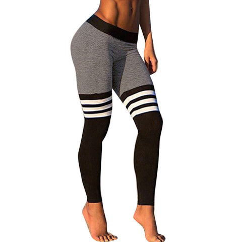 Fitness Yoga Leggings High Waist Stripe Patchwork Skinny Push Up Pants
