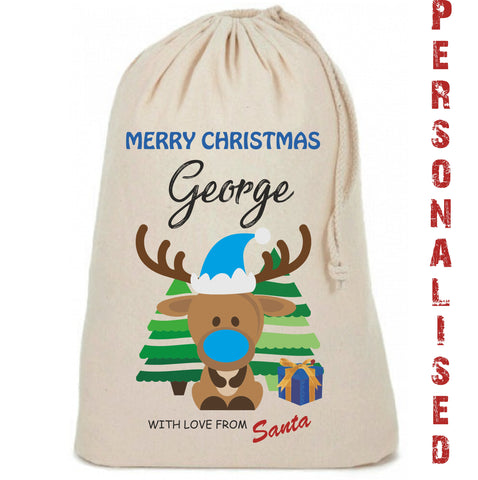Boys Reindeer Cute Personalised Christmas Sack - Awareness for DIPG - Free Postage