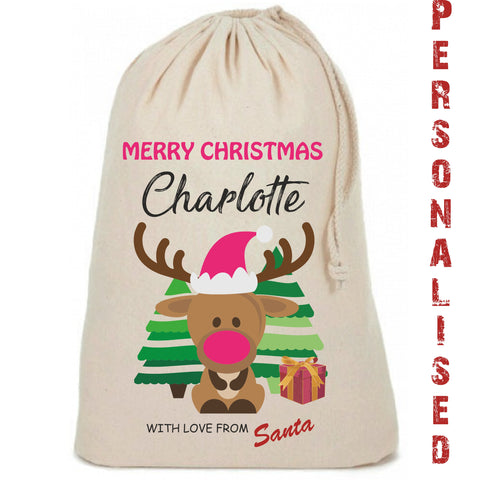 Girls Reindeer Cute Personalised Christmas Sack - Awareness for DIPG - Free Postage
