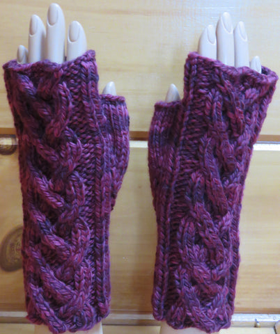 Pattern  2003 - Fingerless Mittens w Cables vs 3 - SW Merino - Bulky