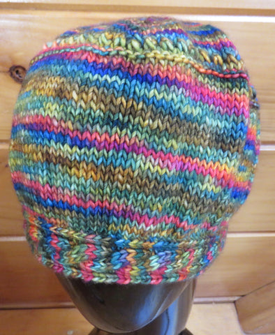 Hat - Cable Brim - Merino DK Single Ply - Autumn Rainbow (Finished Product)