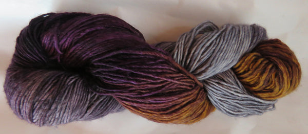 Merino DK Single Ply - Grey/Aubergine/Amber #18