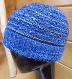 Hat - Textured - Merino DK Single Ply - Blues/Pewter (Finished Product)