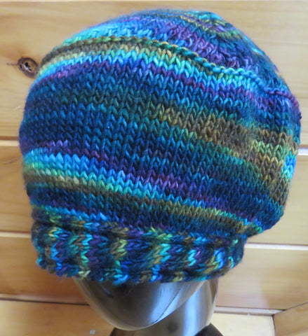 Hat - Cable Brim - Merino DK Single Ply - Earth Day (Finished Product)