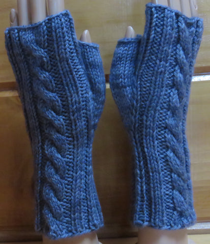 Mittens - Fingerless Cable Mittens - Worsted Weight - 682
