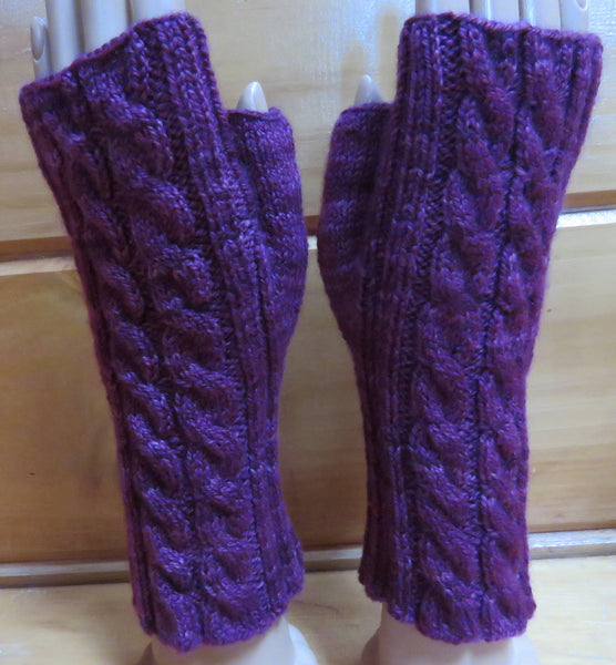 Pattern  551 - Fingerless Mittens with Double Cables - Fingering