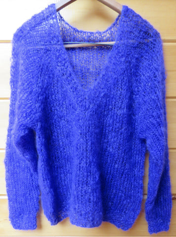 "Sweater - V-Neck ""Vams"" in Brushed Kid Mohair - 1002"