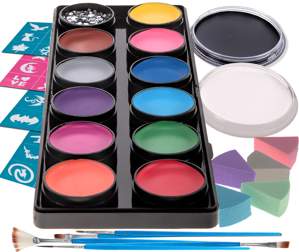 Premium 14 Color Palette, 12x10g, 2x30g Face & Body Paint